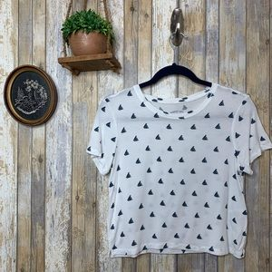 Aero White Printed Sailor Boat Patterned Crop Top